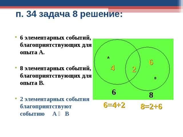 п. 34 задача 8 решение: 6 элементарных событий, благоприятствующих для опыта...