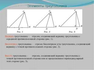 Элементы треугольника Медиана треугольника – Биссектриса треугольника – Высот