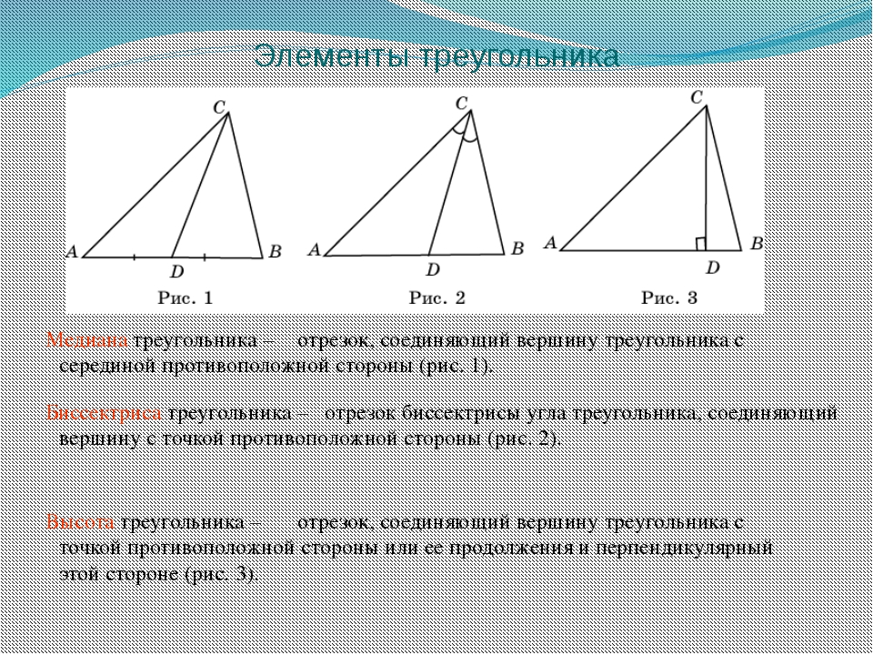 Элементы треугольника Медиана треугольника – Биссектриса треугольника – Высот...