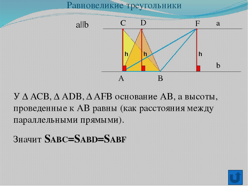 а b A B C D F Значит SABC=SABD=SABF У Δ АСВ, Δ АDB, Δ AFB основание АВ, а вы...