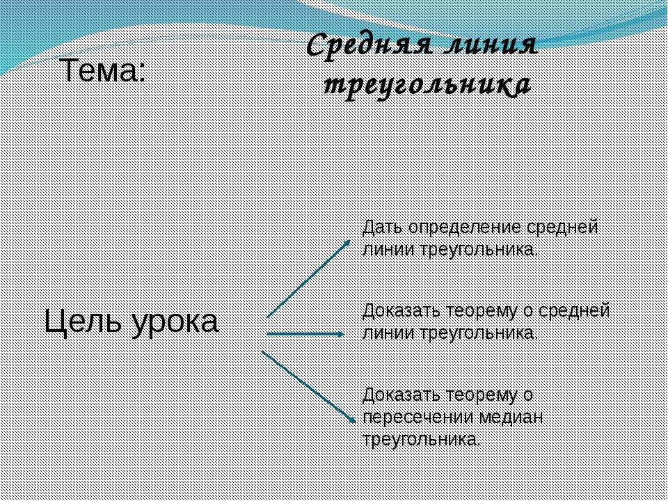 Тема: Цель урока Средняя линия треугольника Дать определение средней линии тр...
