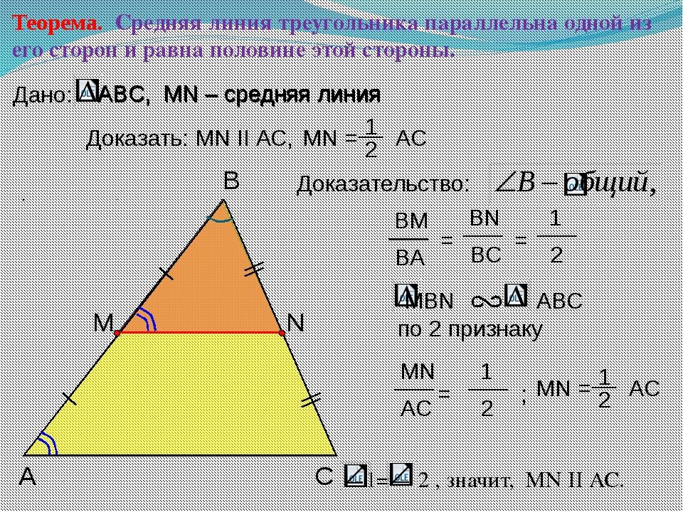 Теорема. Средняя линия треугольника параллельна одной из его сторон и равна...