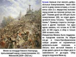 Минин на площади Нижнего Новгорода, призывающий народ к пожертвованиям. К.Е.