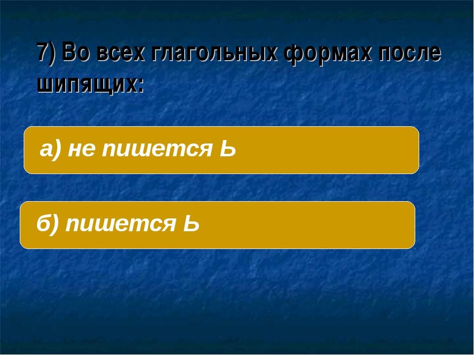 7) Во всех глагольных формах после шипящих: