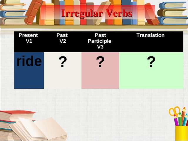 Irregular Verbs Present V1Past V2Past Participle V3Translation ride???