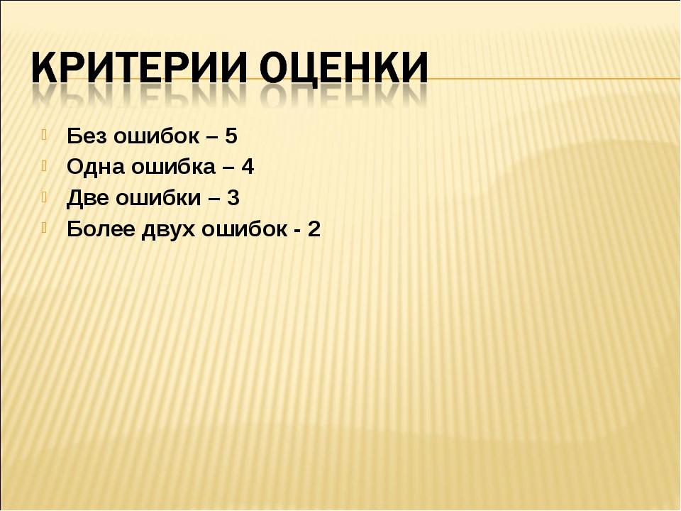 Без ошибок – 5 Одна ошибка – 4 Две ошибки – 3 Более двух ошибок - 2