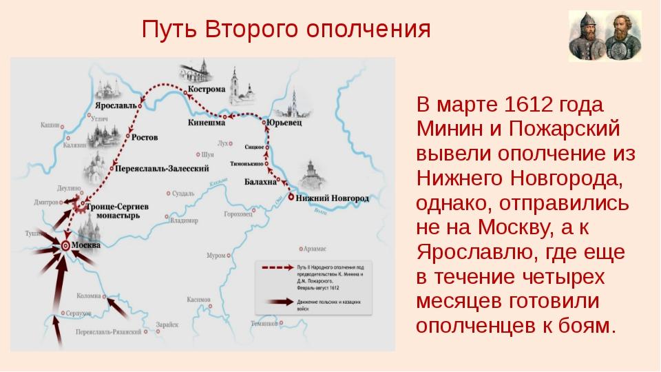 Путь Второго ополчения В марте 1612 года Минин и Пожарский вывели ополчение и...