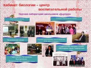 Кабинет биологии – центр воспитательной работы Научная лаборатория школьников