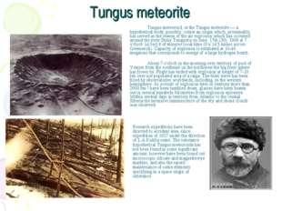 Tungus meteorite Tungus meteoroid, or the Tungus meteorite — a hypothetical