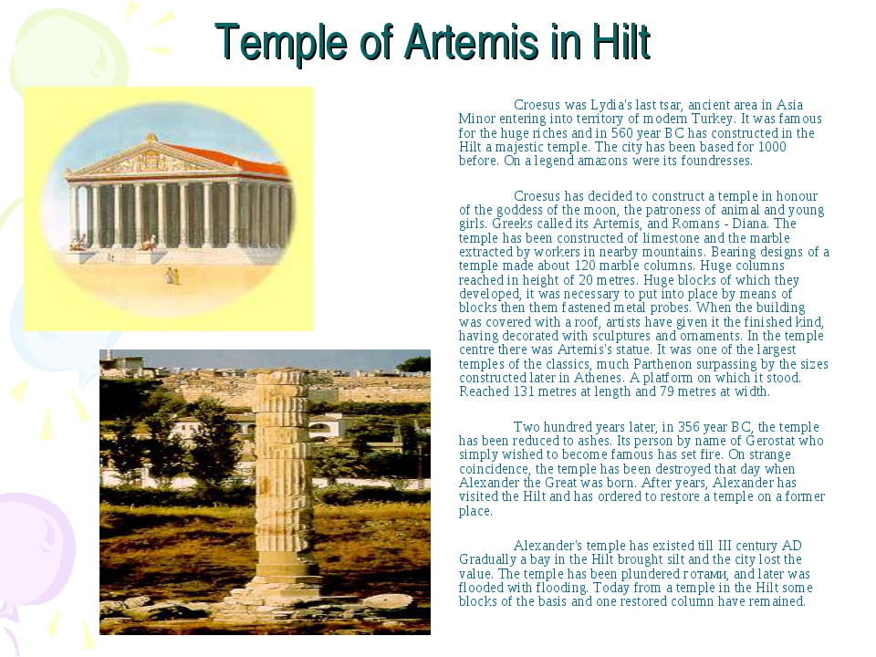 Temple of Artemis in Hilt Croesus was Lydia's last tsar, ancient area in As...