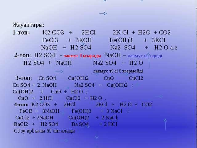 Жауаптары: 1-топ: K2 CO3 + 2HCl 2K Cl + Н2О + СО2 FeCl3 + 3КОН Fe(ОН)3 + 3КCl...