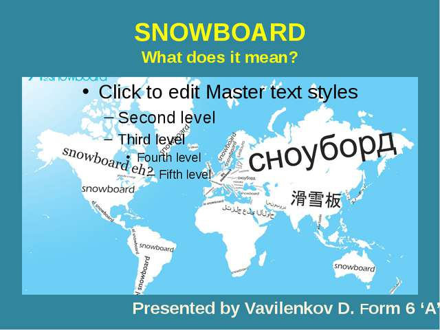 SNOWBOARD What does it mean? Presented by Vavilenkov D. Form 6 'A'