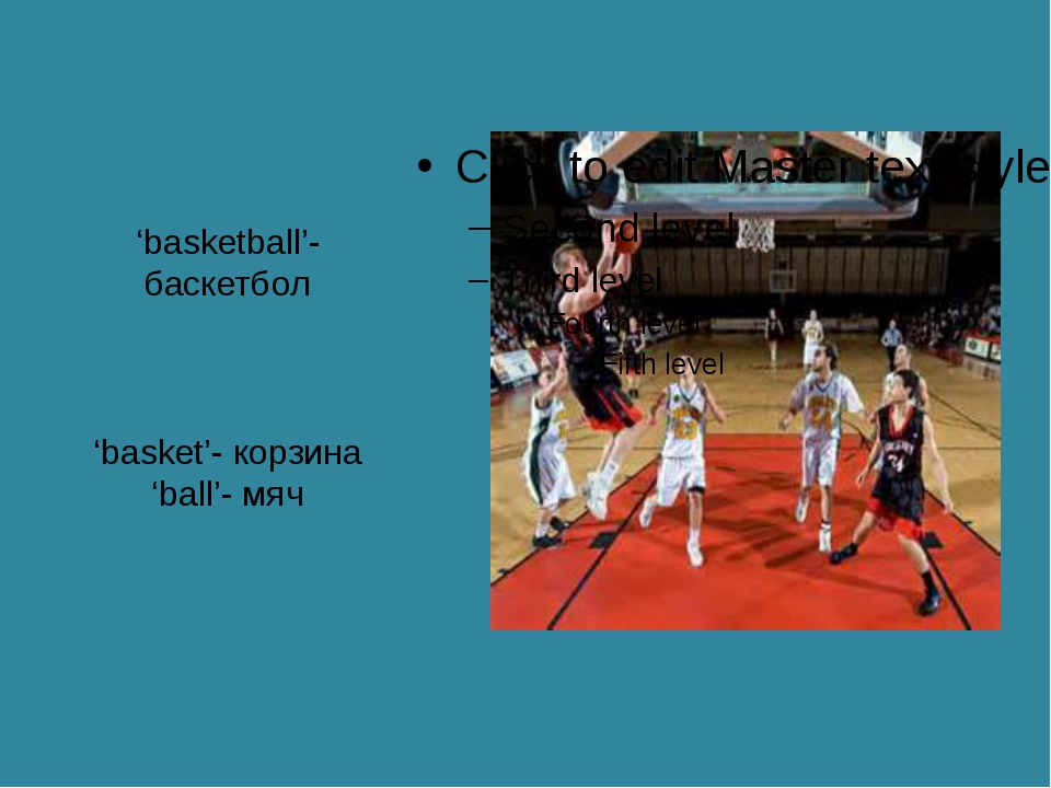 'basketball'- баскетбол 'basket'- корзина 'ball'- мяч