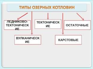 ЛЕДНИКОВО- ТЕКТОНИЧЕСКИЕ ТЕКТОНИЧЕСКИЕ ОСТАТОЧНЫЕ ВУЛКАНИЧЕСКИЕ КАРСТОВЫЕ