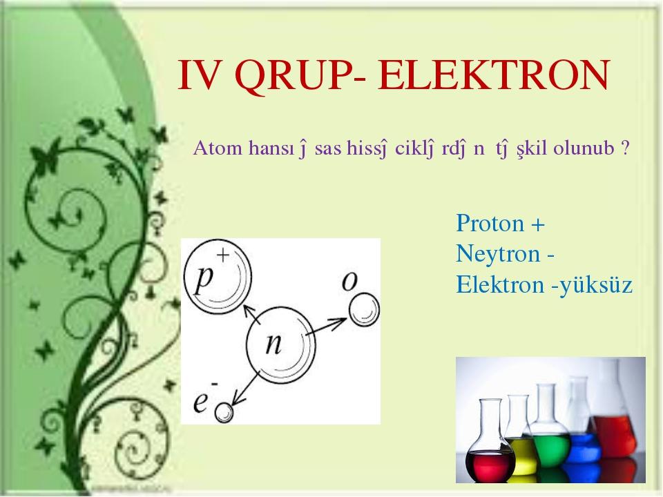 IV QRUP- ELEKTRON Atom hansı əsas hissəciklərdən təşkil olunub ? Proton + Ney...