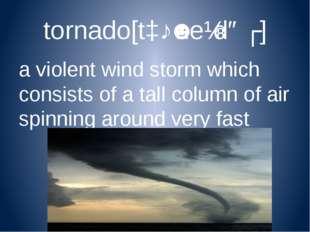 tornado[tɔːˈneɪdəʊ] a violent wind storm which consists of a tall column of a