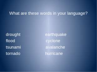 What are these words in your language? drought earthquake flood cyclone tsuna
