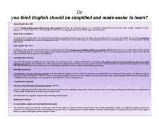 Do you think English should be simplified and made easier to learn? Antonio B