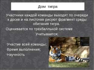 Дом тигра Участники каждой команды выходят по очереди к доске и на листочке р
