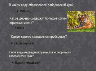 В каком году образовался Хабаровский край 1938 год Какое дерево содержит боль