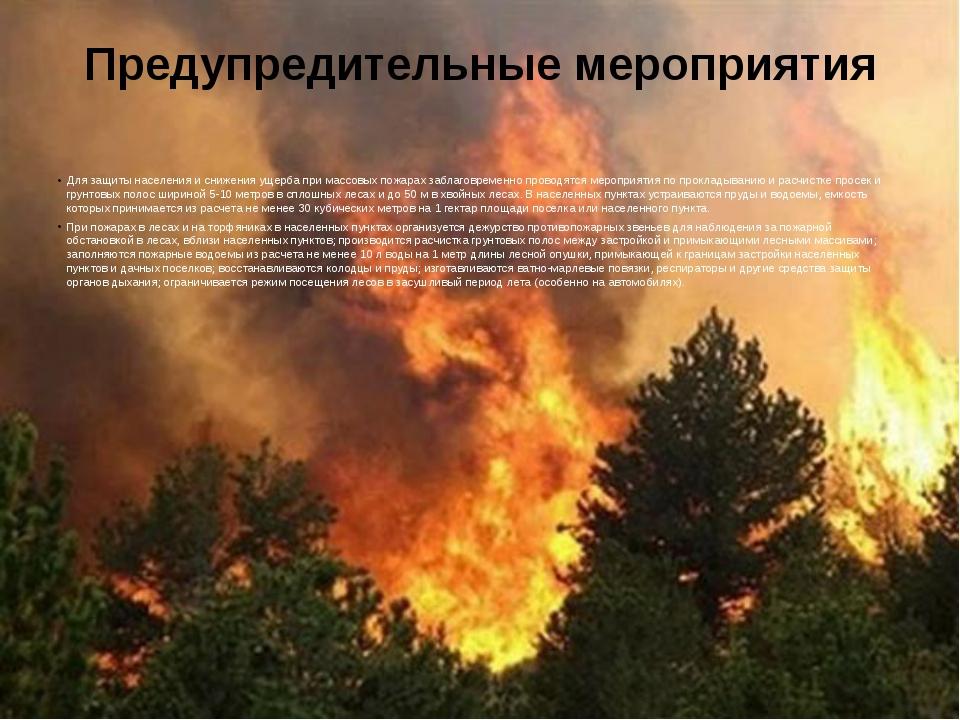 Предупредительные мероприятия Для защиты населения и снижения ущерба при масс...