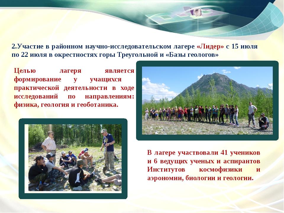 2.Участие в районном научно-исследовательском лагере «Лидер» с 15 июля по 22...