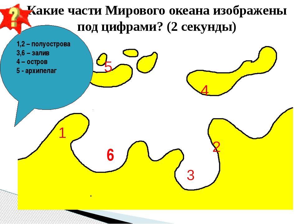 1 2 3 4 5 Какие части Мирового океана изображены под цифрами? (2 секунды) 1,2...
