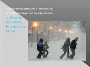 4.Укажите правильное утверждение. От снежной бури лучше укрываться А) В здани