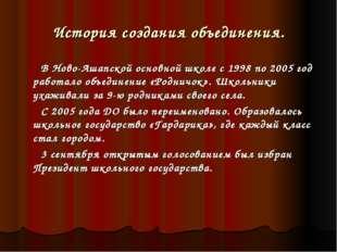 История создания объединения. В Ново-Ашапской основной школе с 1998 по 2005 г