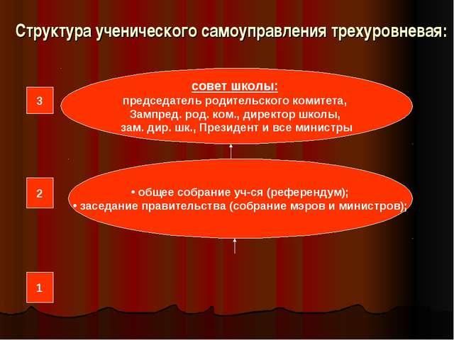 Структура ученического самоуправления трехуровневая: совет школы: председател...