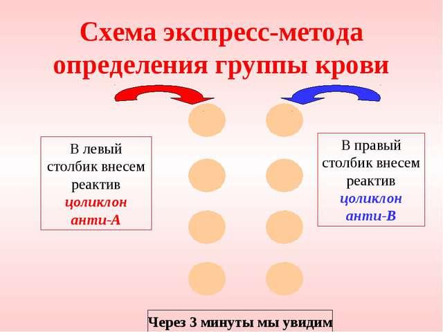 Схема экспресс-метода определения группы крови В левый столбик внесем реактив...