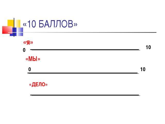 «10 БАЛЛОВ» «я» «МЫ» «ДЕЛО» 0 10 0 10