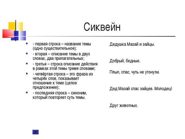 Сиквейн - первая строка – название темы (одно существительное); - вторая – оп...