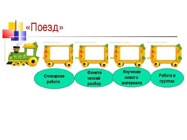 «Поезд» Словарная работа Фонети ческий разбор Изучение нового материала Работ...