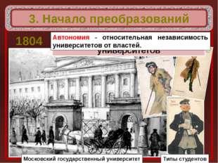 3. Начало преобразований 1804 Московский государственный университет Введена