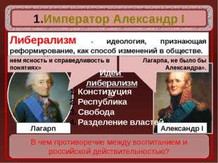 Император Александр I В чем противоречие между воспитанием и российской дейс
