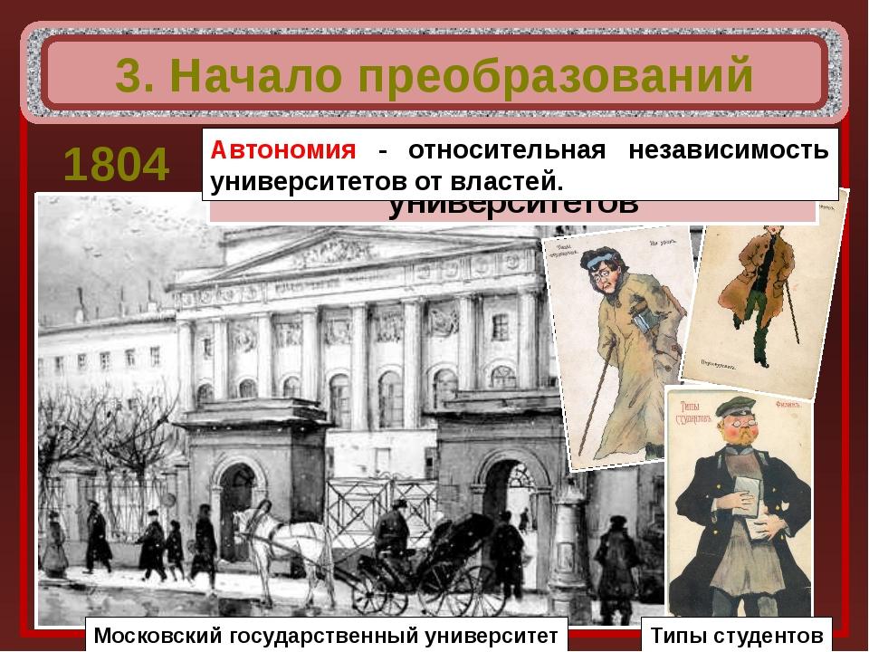 3. Начало преобразований 1804 Московский государственный университет Введена...