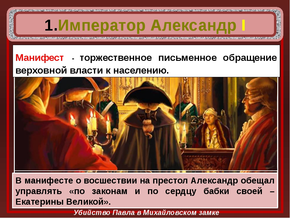 Убийство Павла в Михайловском замке Император Александр I В полпервого ночи...