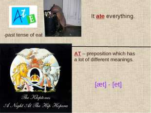 -past tense of eat It ate everything. AT – preposition which has a lot of dif