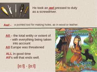 Awl - He took an awl pressed to duty as a screwdriver. a pointed tool for mak