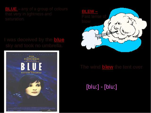 BLEW – Past tense of blow The wind blew the tent over BLUE – any of a group o...