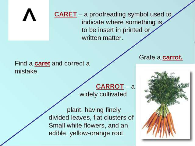 CARET – a proofreading symbol used to indicate where something is to be inser...