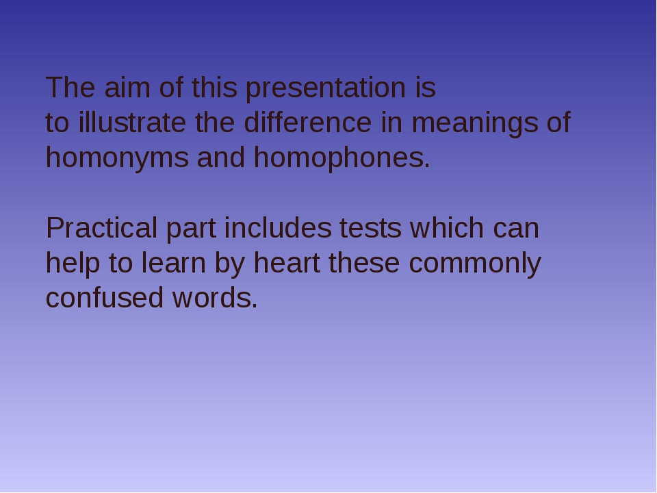 The aim of this presentation is to illustrate the difference in meanings of h...