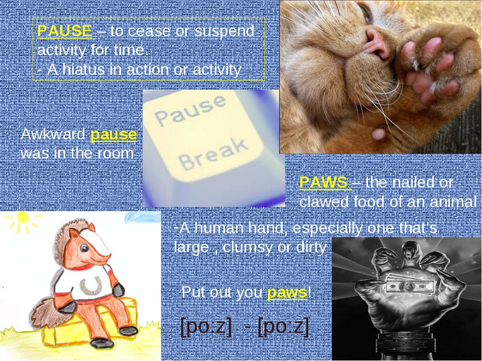 PAUSE – to cease or suspend activity for time. - A hiatus in action or activi...