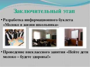 Заключительный этап Разработка информационного буклета «Молоко в жизни школьн