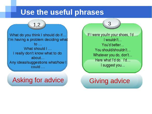 Use the useful phrases Asking for advice