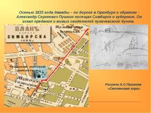Осенью 1833 года дважды – по дороге в Оренбург и обратно - Александр Сергееви