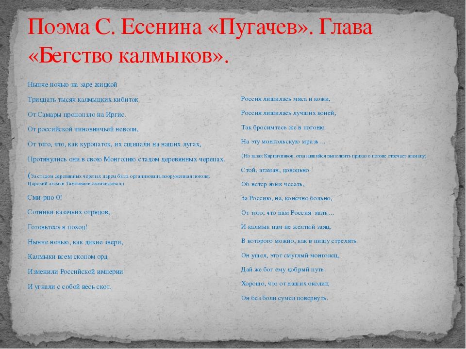 Поэма С. Есенина «Пугачев». Глава «Бегство калмыков». Нынче ночью на заре жид...