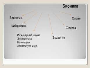 Бионика Биология Химия Кибернетика Физика Экология Инженерные науки: Электро
