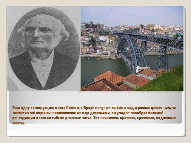 Еще одну конструкцию моста Семюэль Броун получил выйдя в сад и рассматривая т...
